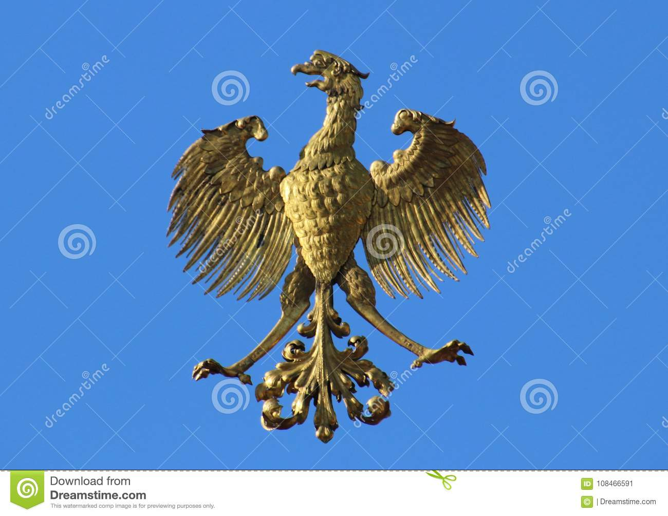 Golden Eagle On A Blue Background Symbol Of Poland Country Birds