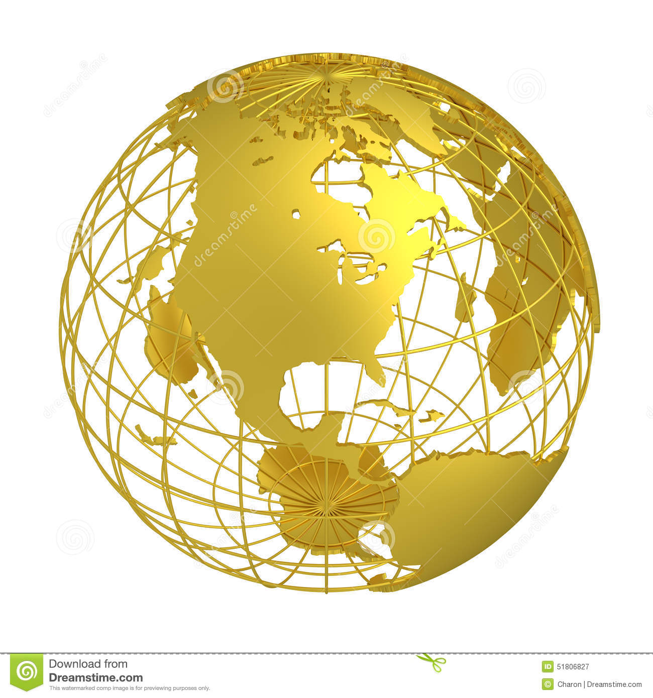 Golden Earth Planet 3d Globe Isolated Stock Photo Image