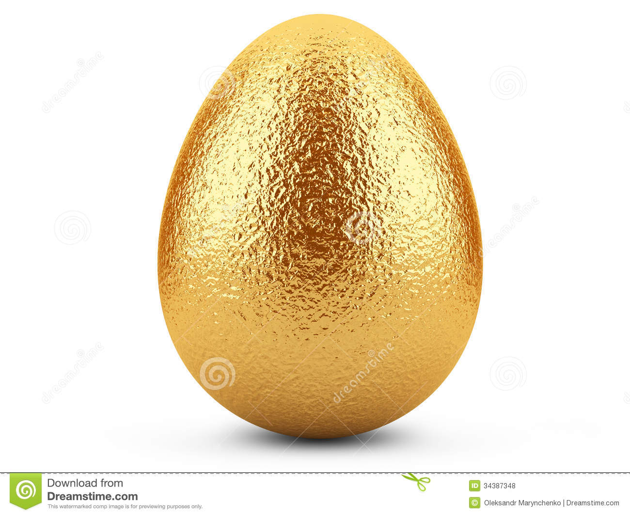 Golden Easter Egg On White Background Royalty Free Stock