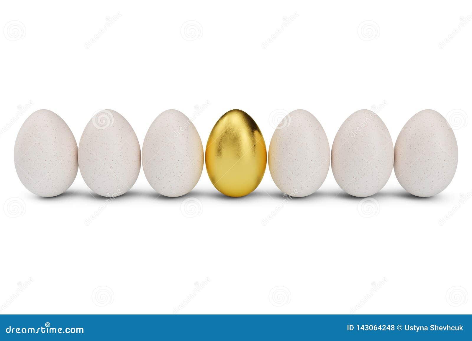 Golden egg around white eggs in row. Golden egg closeup. Golden egg as a sign of wealth, luxury. Egg as a symbol of