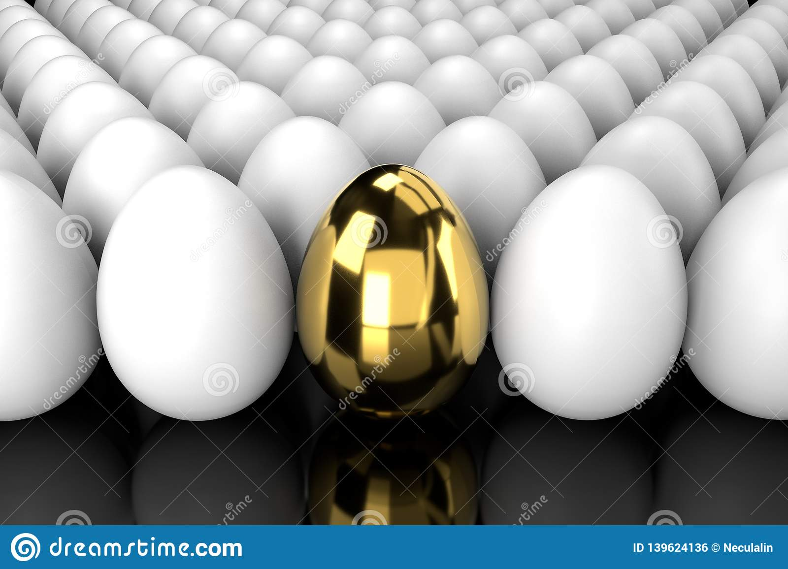 Golden Egg Standing Out From The Crowd with reflection