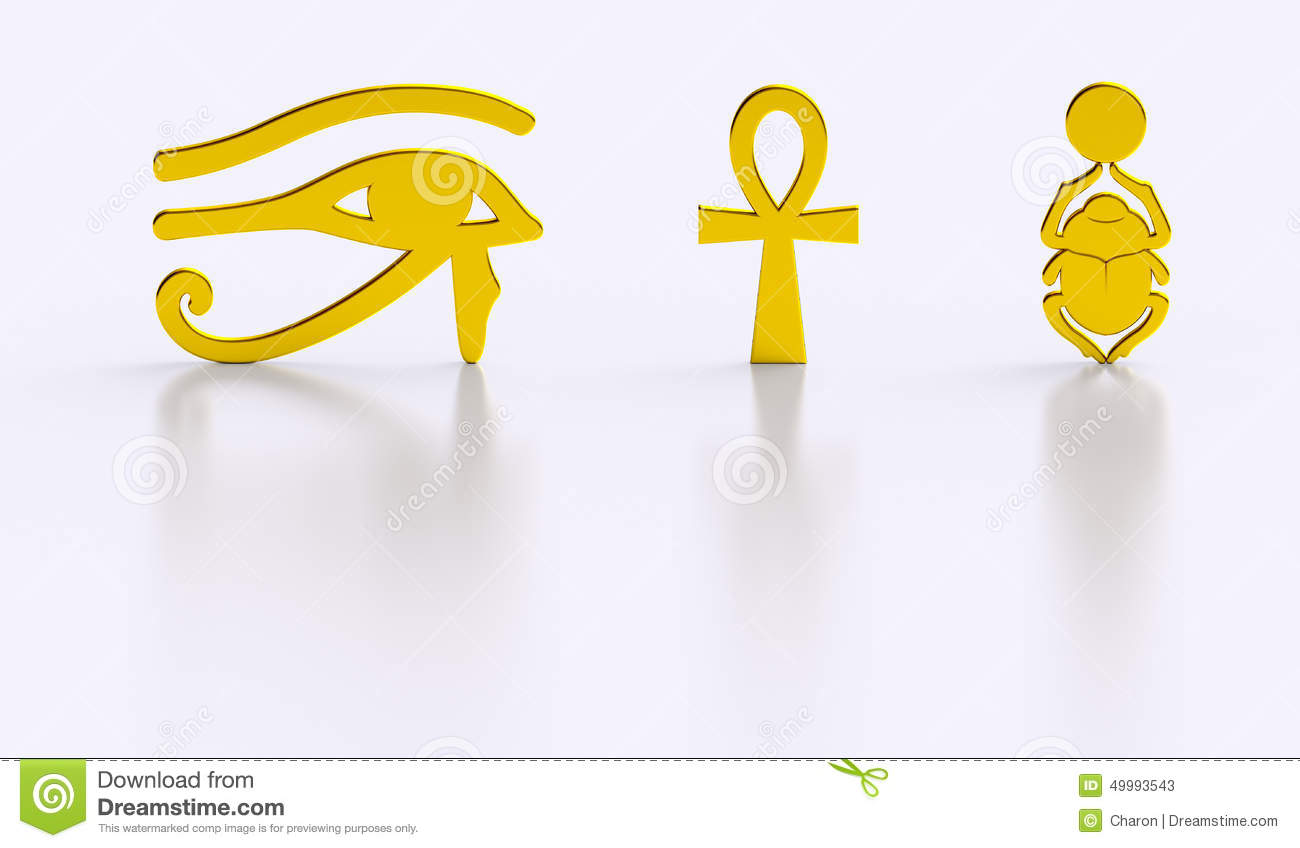 Golden Egyptian Symbols Gloss Reflections Stock Illustration