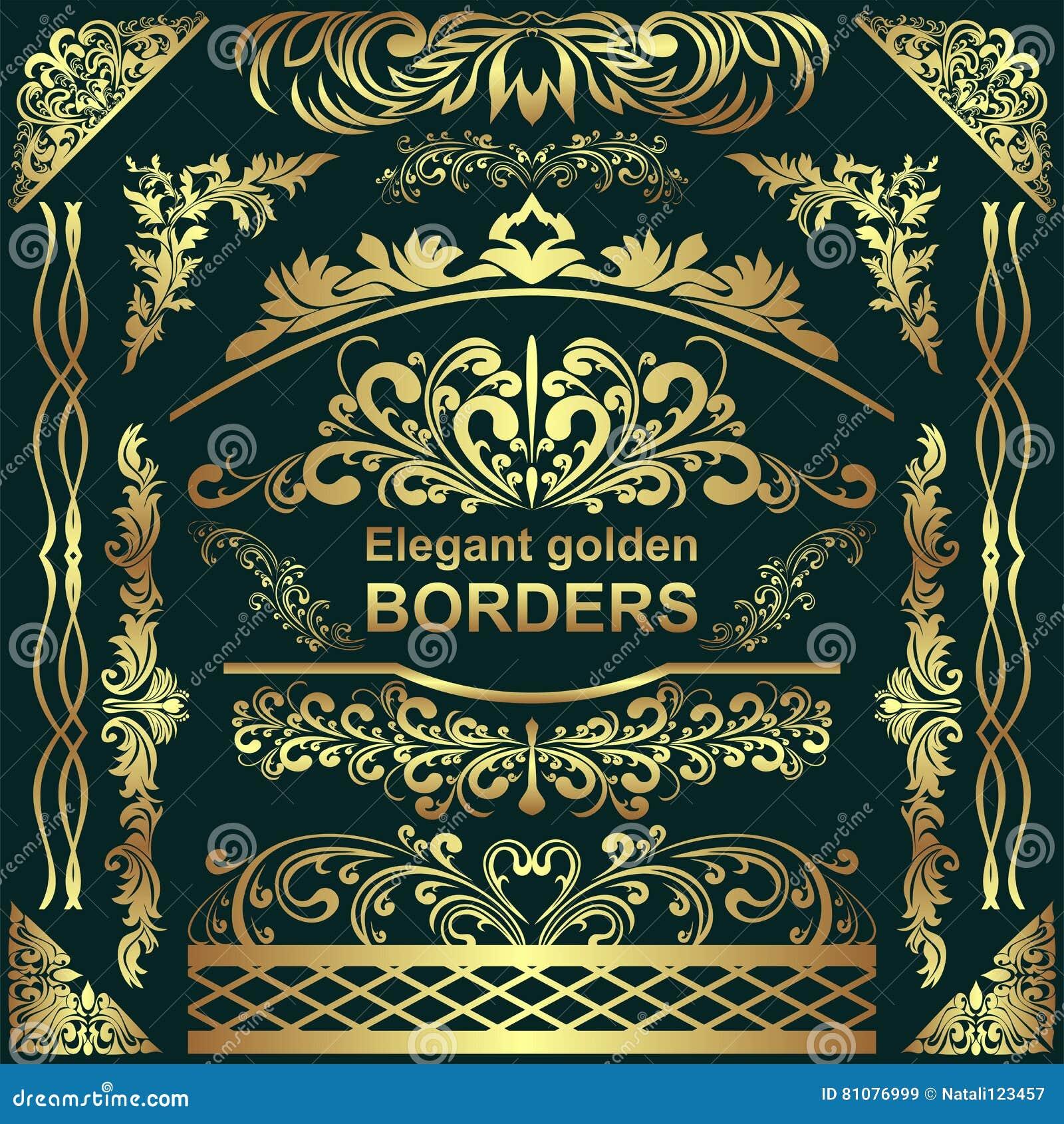 Golden Elegant Borders, Design Elements - Big Set For Your