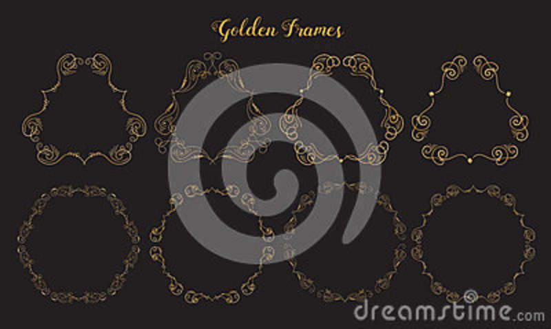 24d5dc85d60c Golden emblem frames. Ornamental decorative elements. Gold flourishes.  Shiny decorative hand drawn borders.