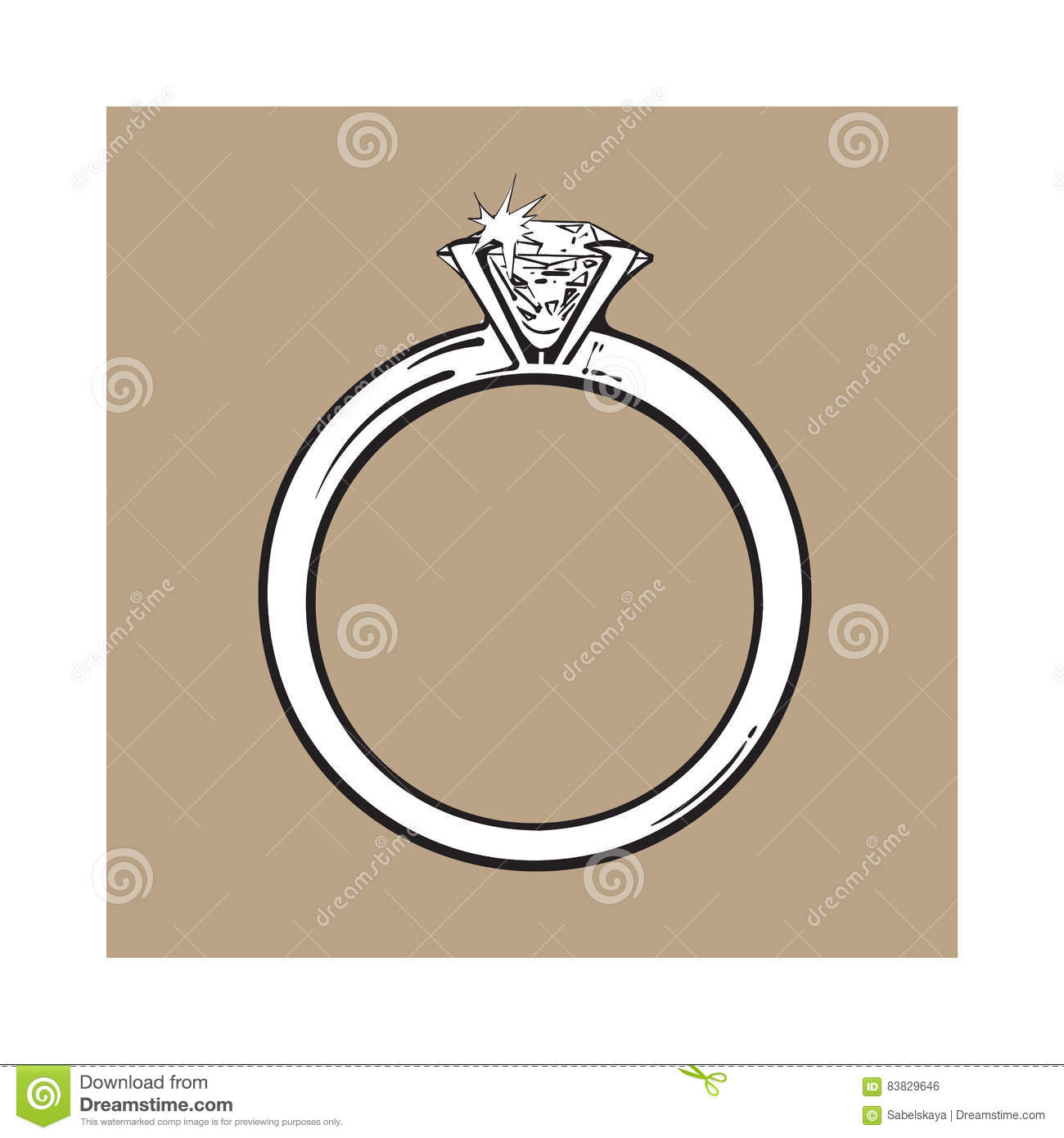 Golden Engagement Ring With A Big Shining Diamond Stock Vector