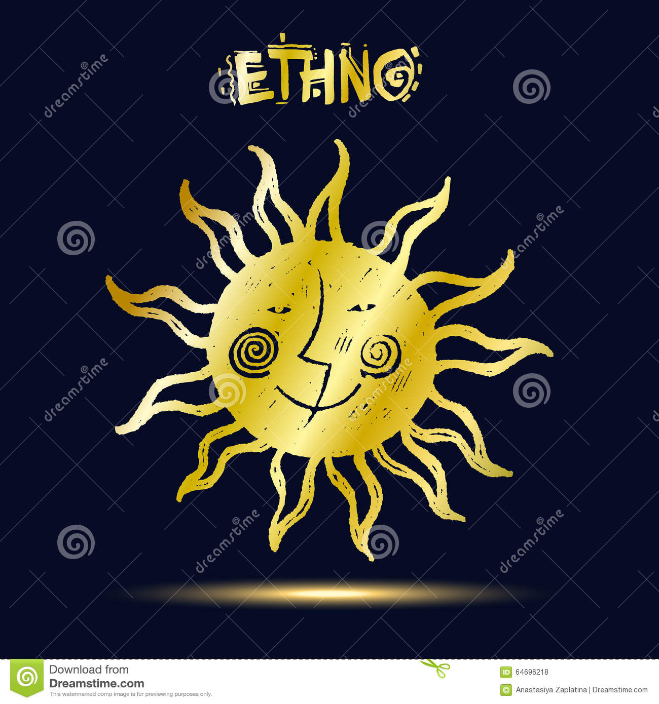 Golden ethnic symbol on dark blue background sun and moon sketch golden ethnic symbol on dark blue background sun and moon sketch style vector illustration biocorpaavc Images