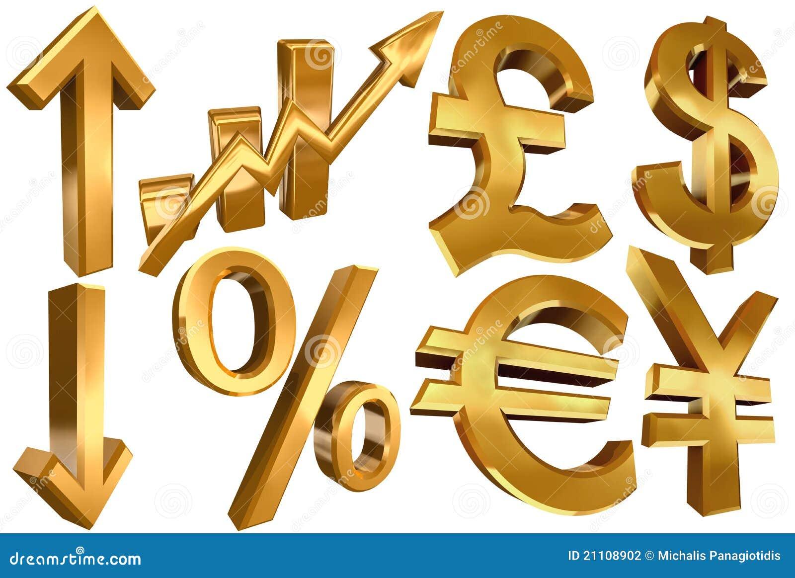 Golden Euro Dollar Pound Yen Arrow Stock Illustration Illustration