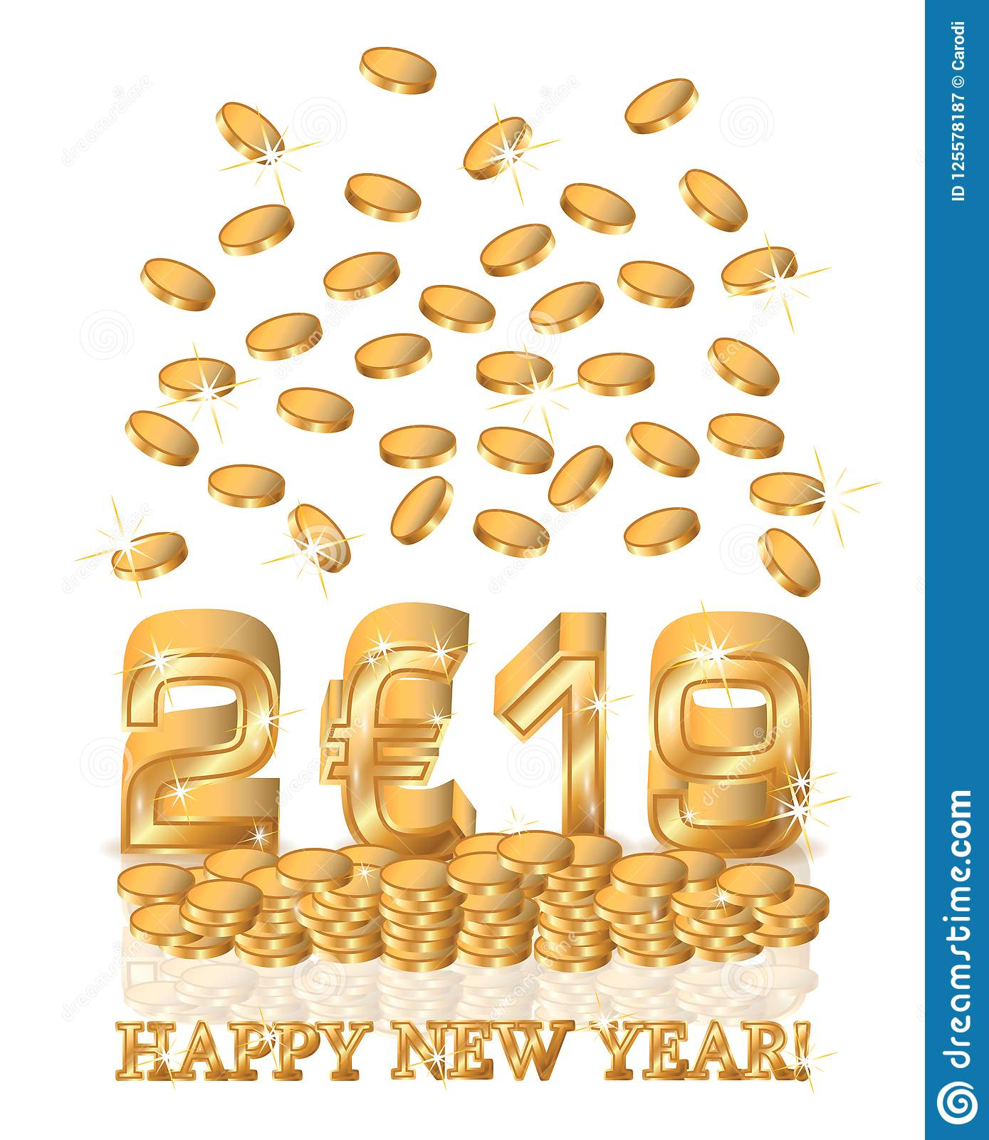 golden euro new 2019 year invitation card