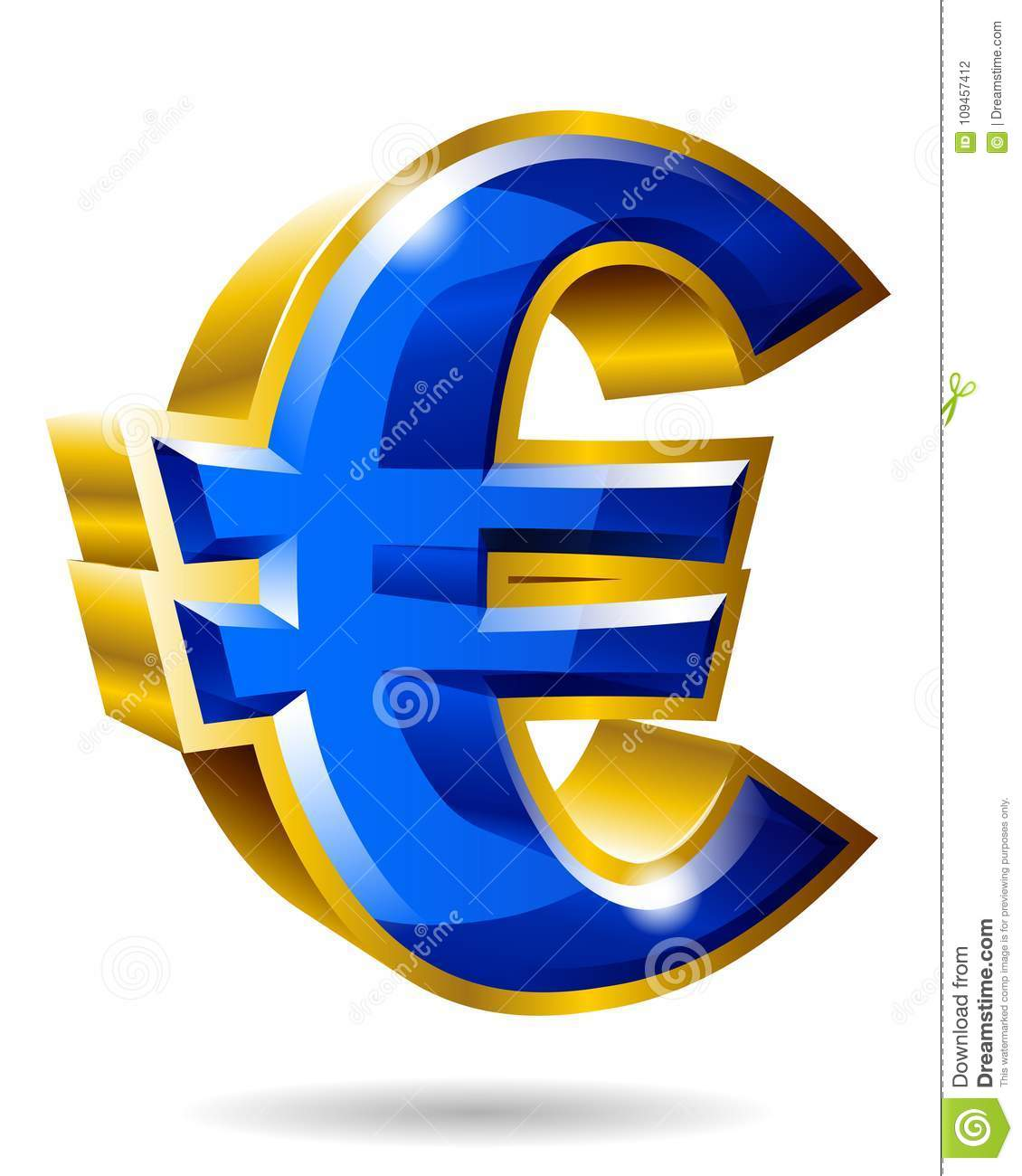 Golden Euro Symbol In 3d Style Isolated On White Background Vec