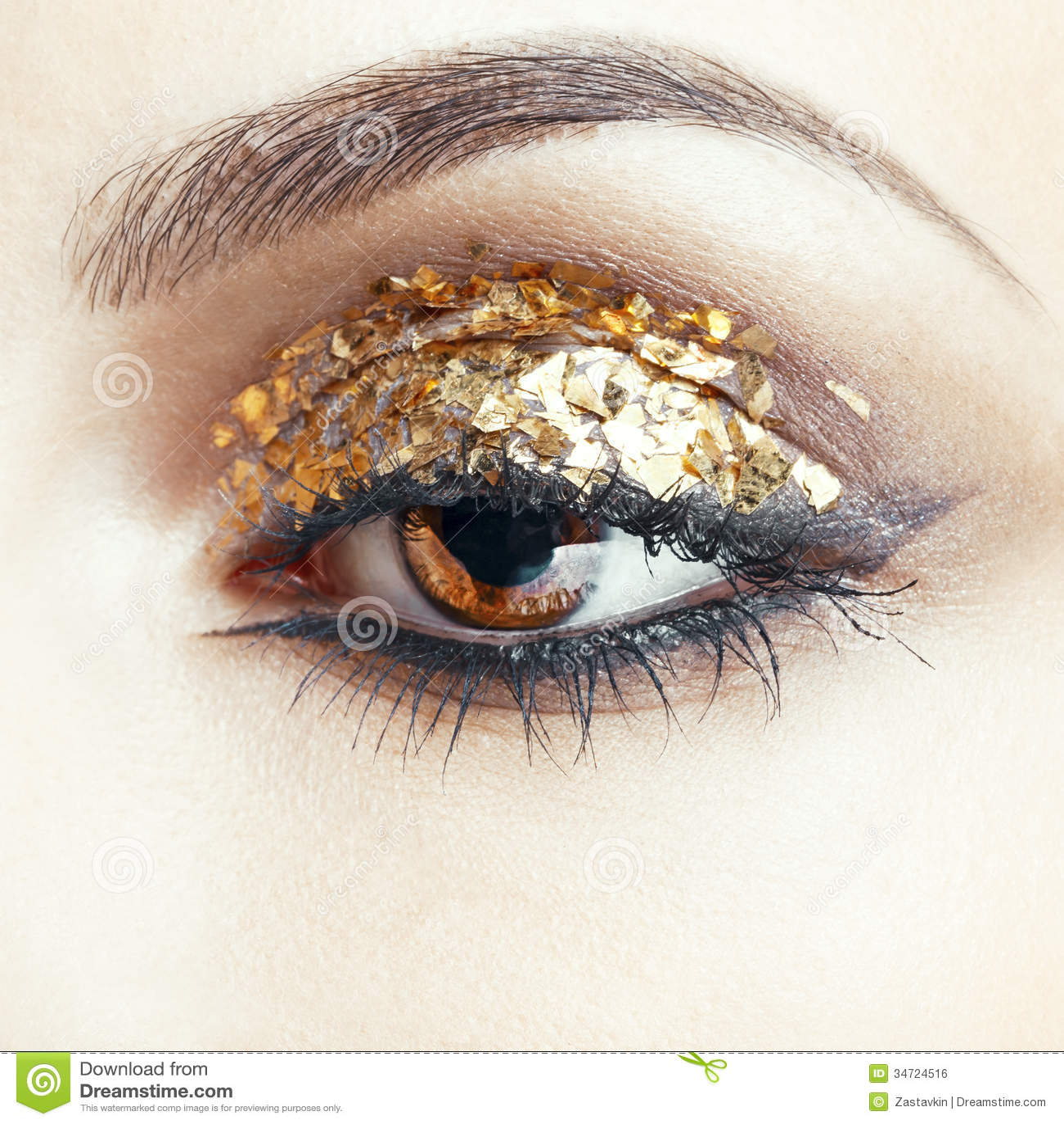 Golden Eye Makeup Stock Photo Image Of Lady Eyeshadow 34724516