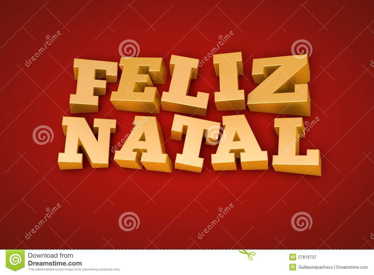 Golden Feliz Natal text on a red background