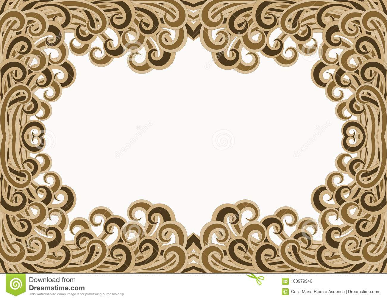 Golden Filigree Waves Water Frame Stock Illustration - Illustration ...