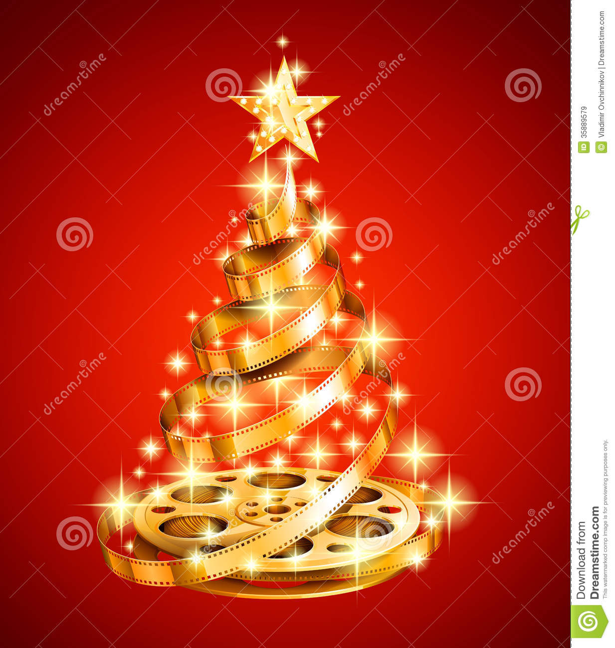 Golden Film Strip Christmas Tree Stock Illustration Illustration