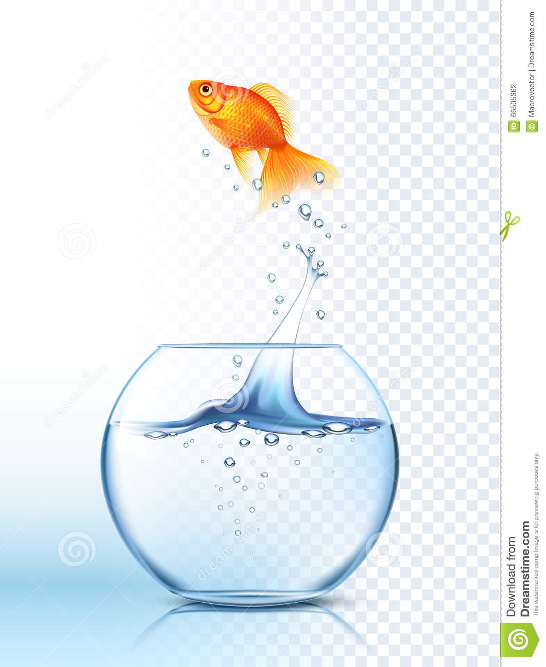 Golden fish jumping out bowl poster stock vector image for Dream about fish out of water