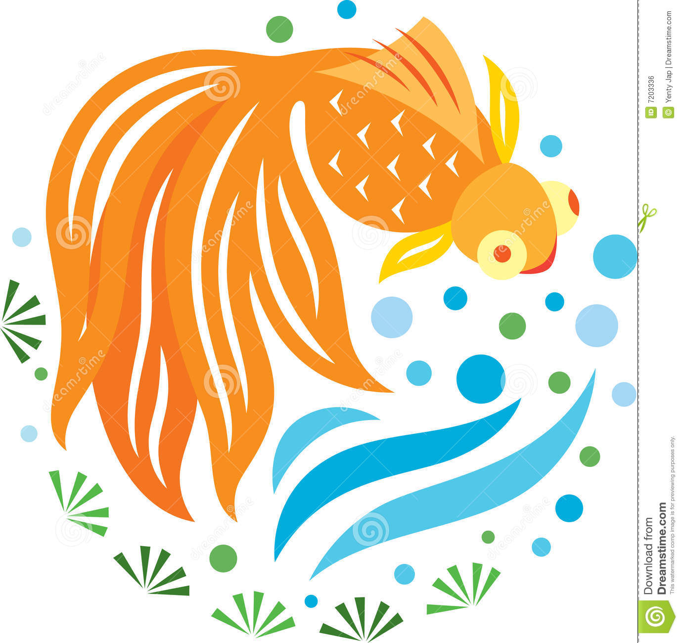 Round ornament fish pond cartoon vector cartoondealer for Golden ornamental pond fish crossword