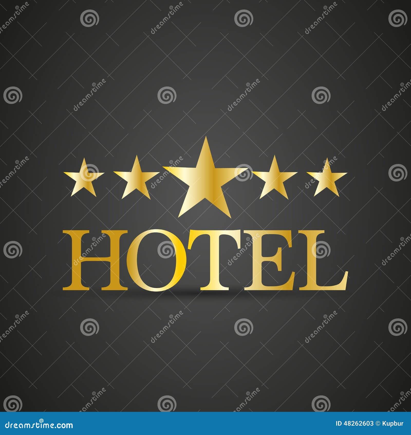 Golden Five Star Hotel Sign Cartoon Vector