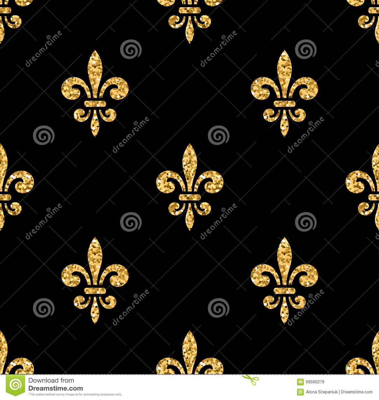 golden fleurdelis seamless pattern black 3 stock vector