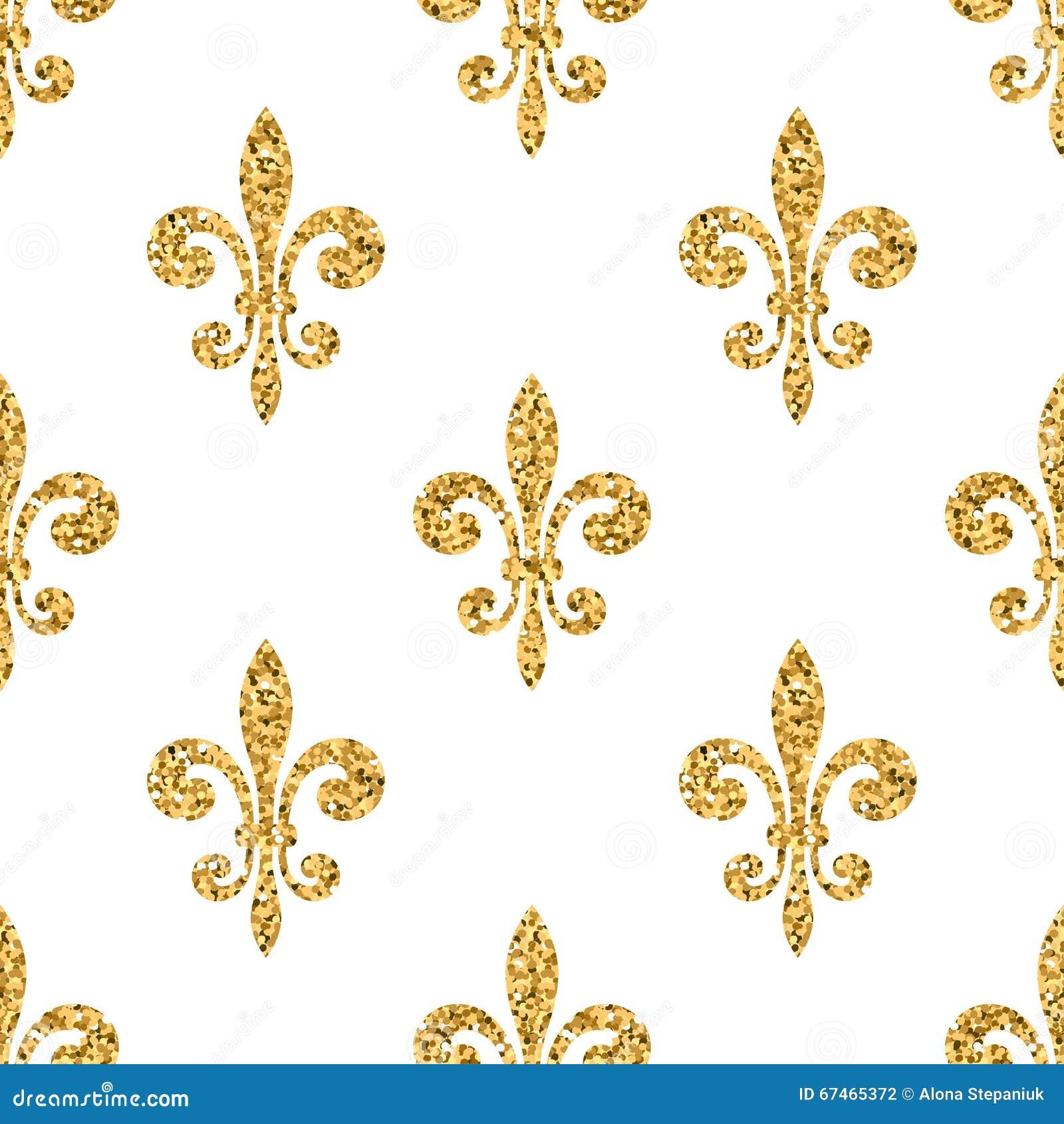 golden fleur de lis seamless pattern white stock vector