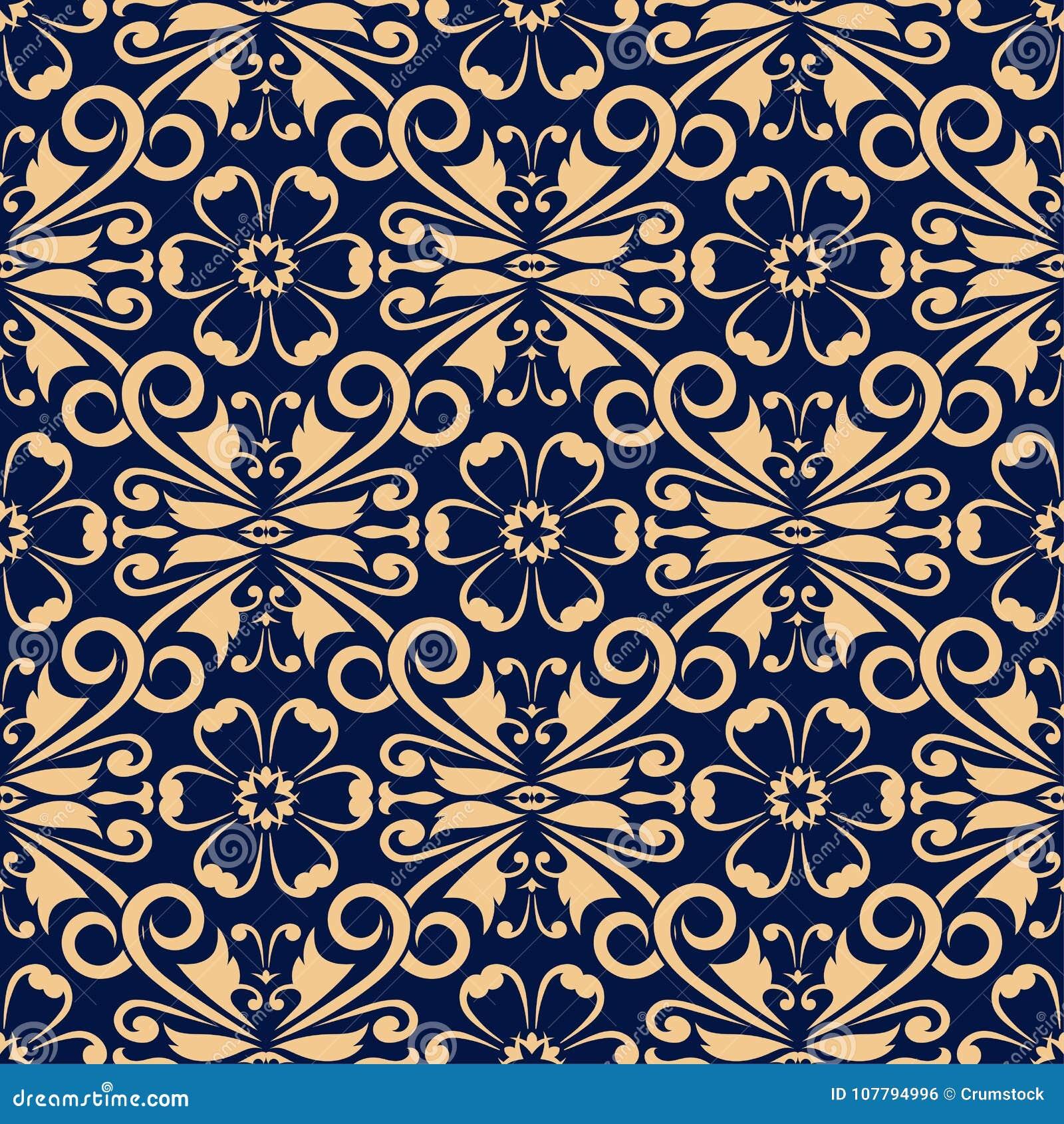 Golden floral element on dark blue background. Seamless pattern