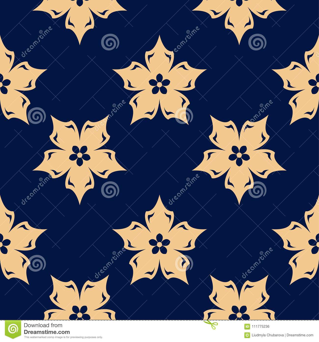 Golden floral element on dark blue background. Seamless pattern