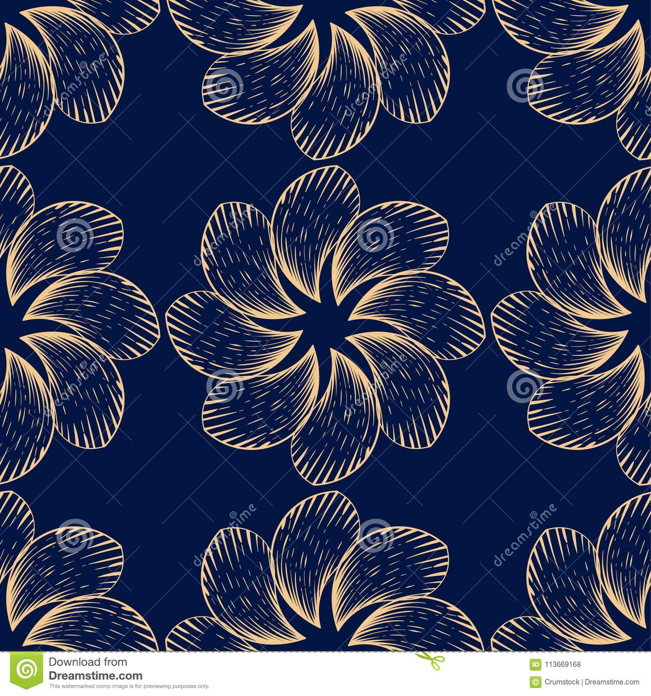 Golden floral seamless pattern on blue background