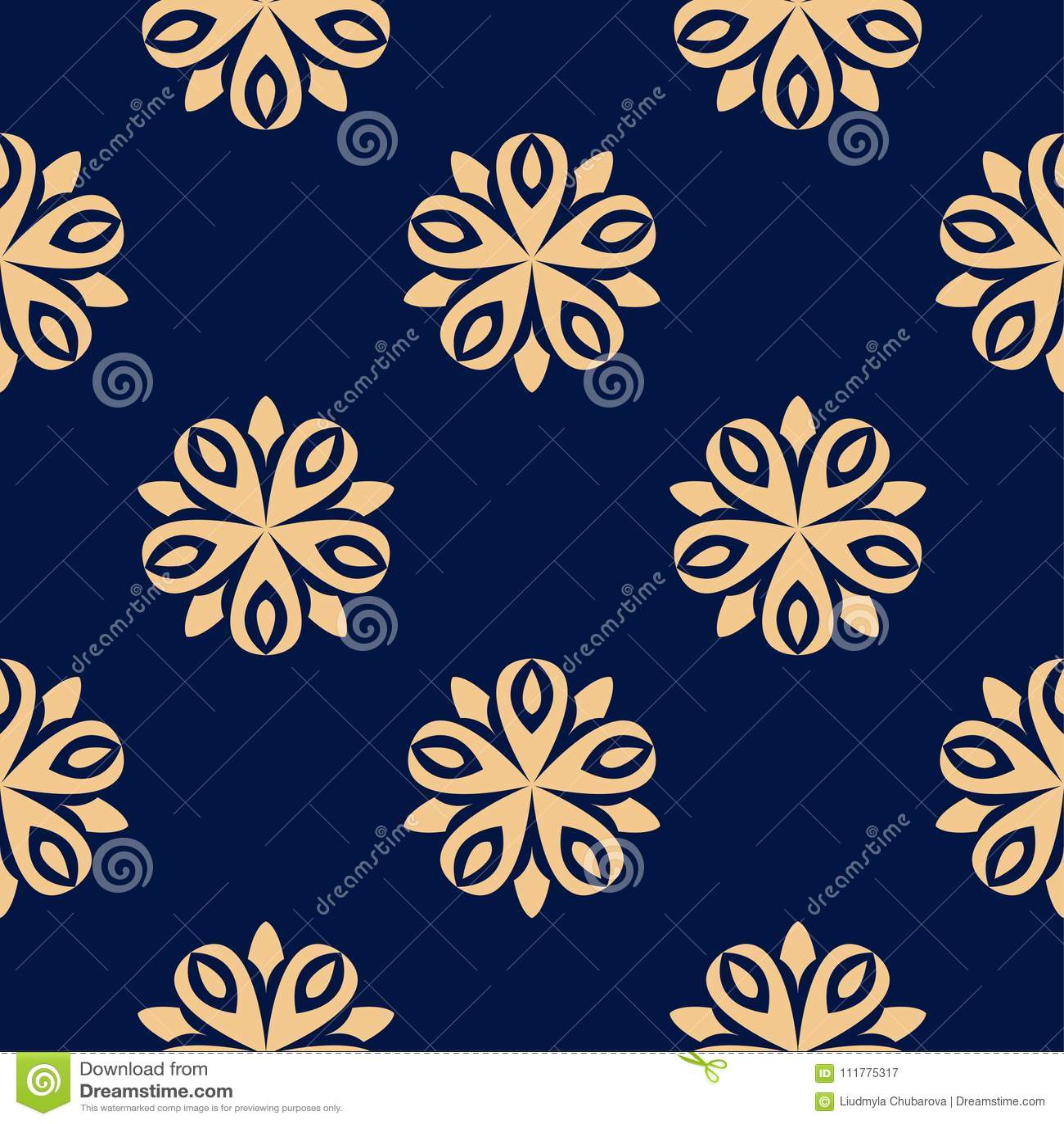 Golden floral seamless pattern on blue background