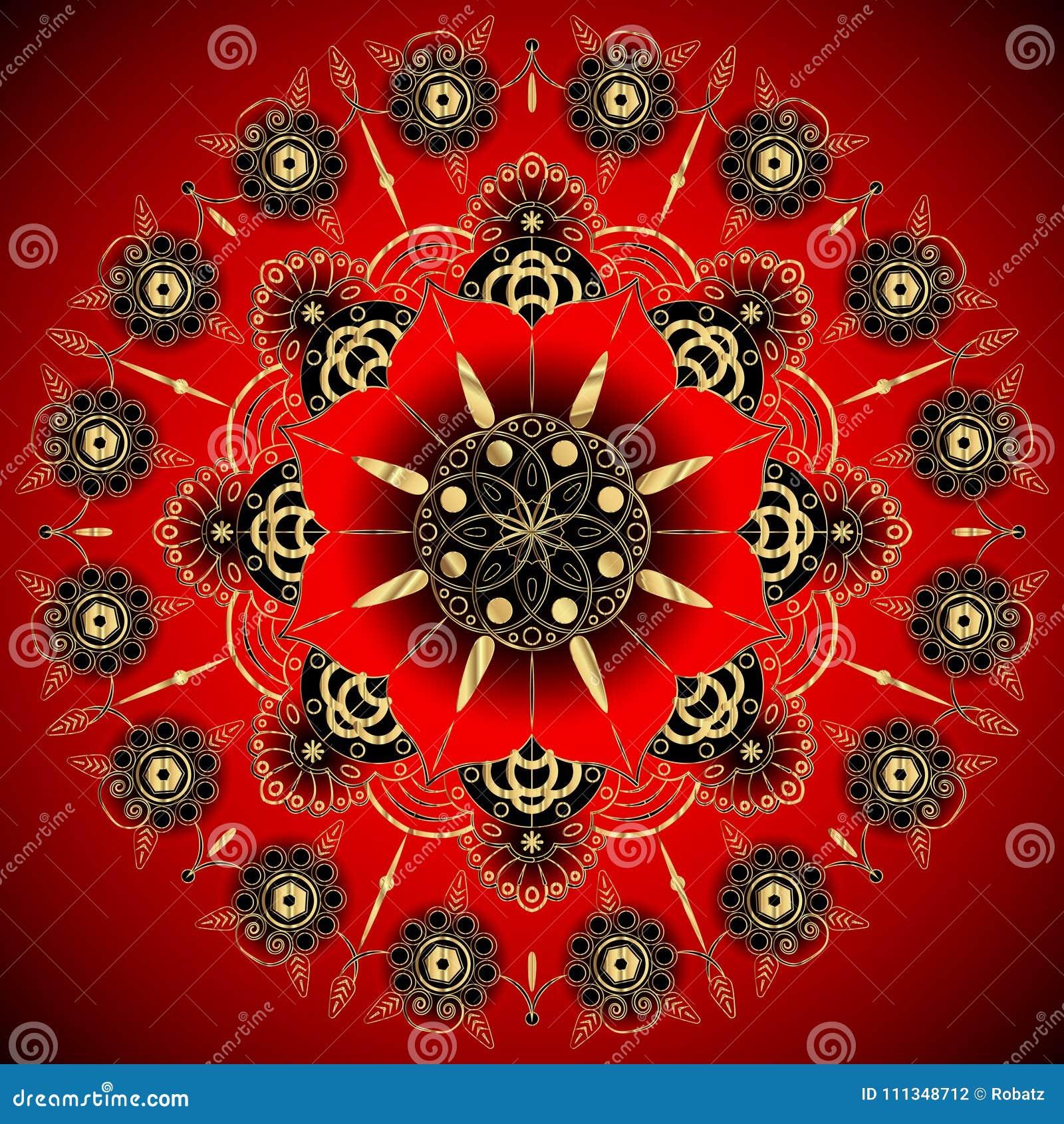 Golden Flower Mandala. Vintage Decorative Elements. Oriental Pattern ...