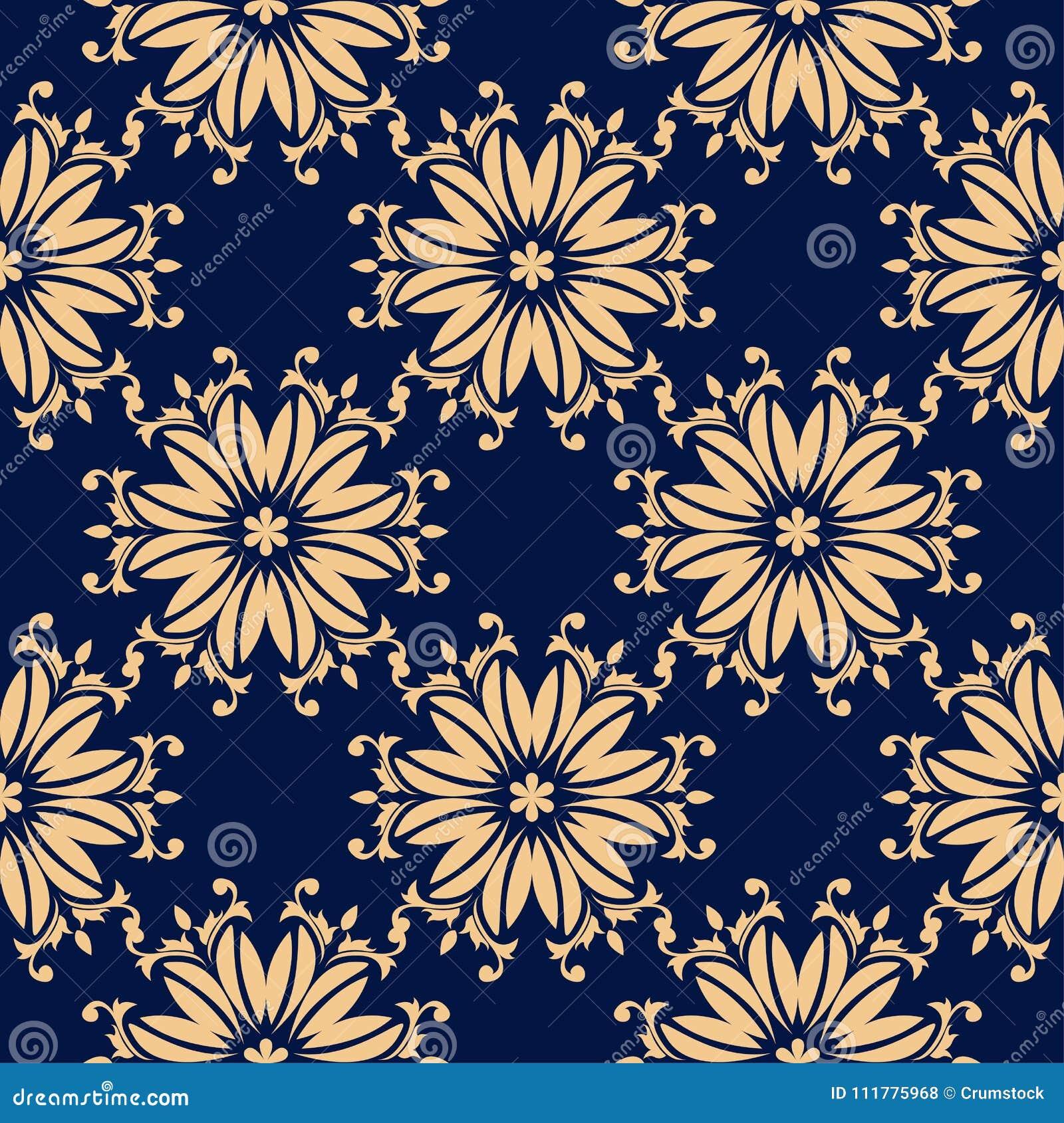Golden flowers on blue background. Ornamental seamless pattern