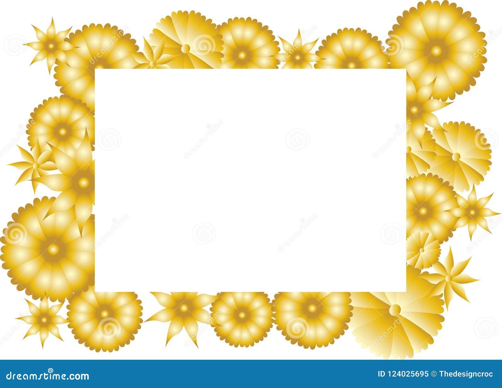 Golden Flowers Border Frame White Write Text Card Stock Vector