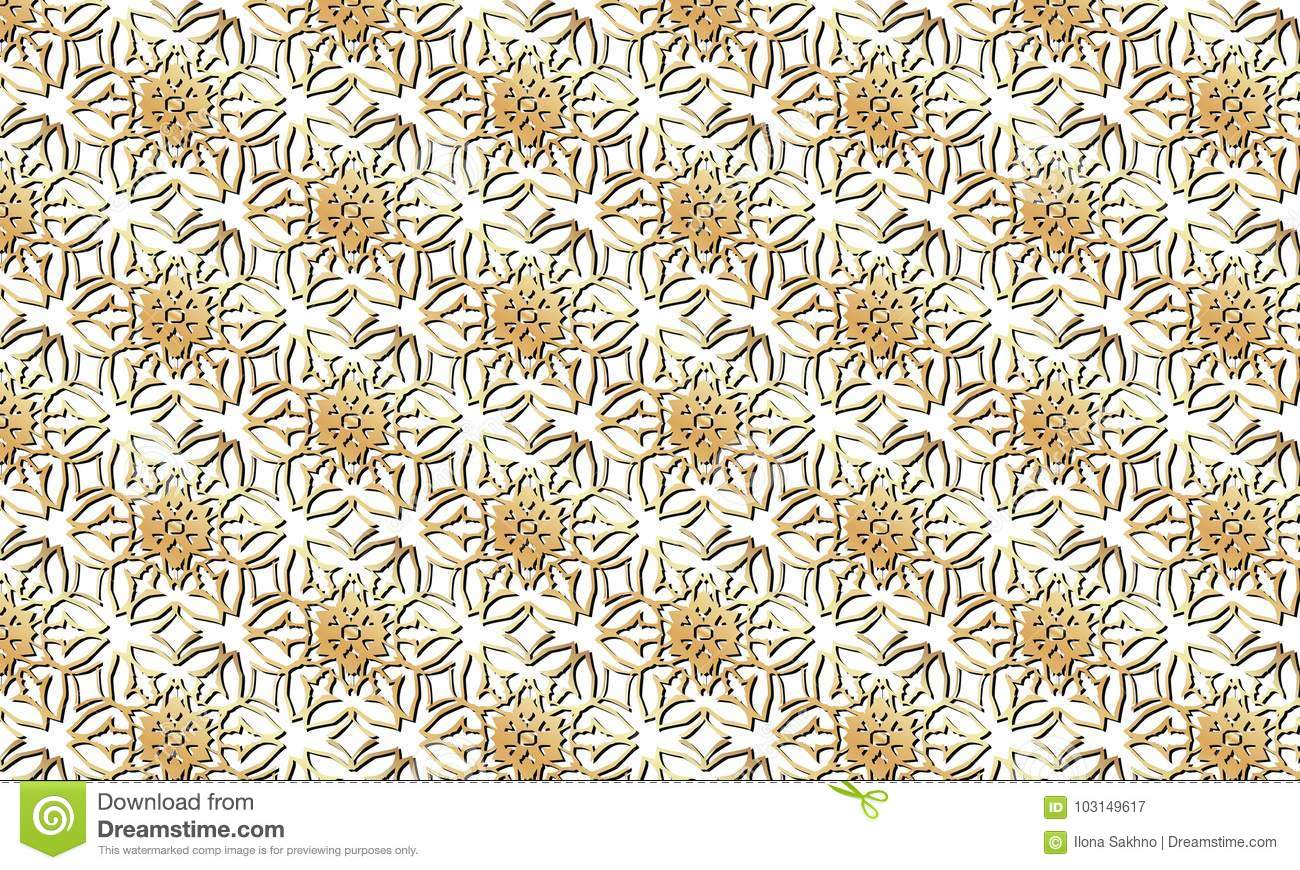 ffc5ae472cdc Golden Flowers Pattern On A Transparent Background Stock ...