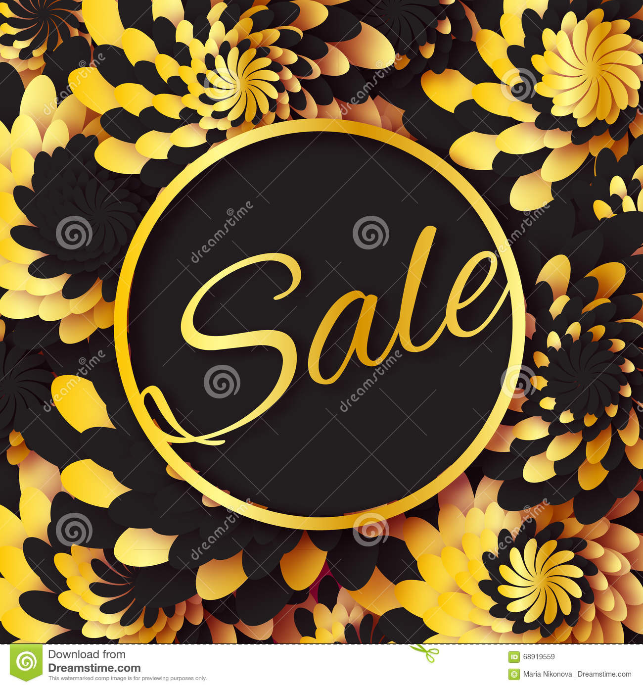 Golden foil spring summer sale banner with frame for business golden foil spring summer sale banner with frame for business applique card with origami flowers offers message trendy design template for card vip mightylinksfo
