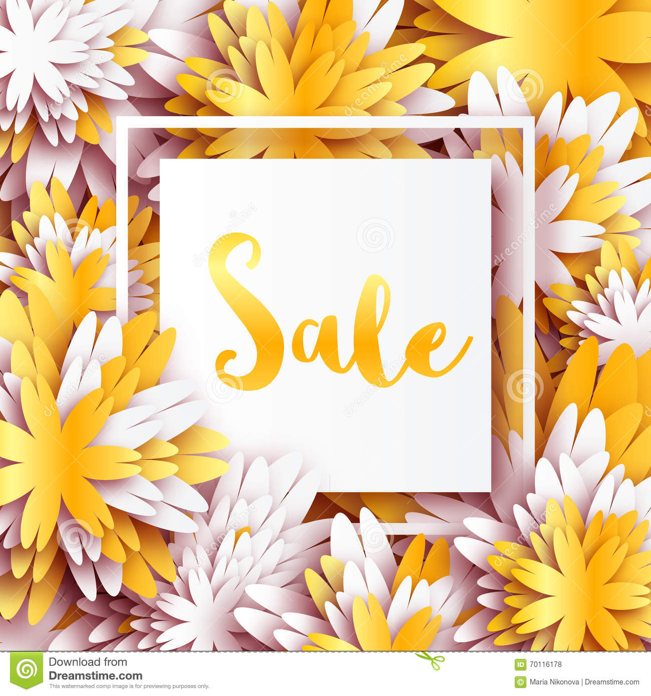Golden foil spring summer sale banner with frame for business stock golden foil spring summer sale banner with frame for business applique card with origami flowers offers message trendy design template for card vip mightylinksfo