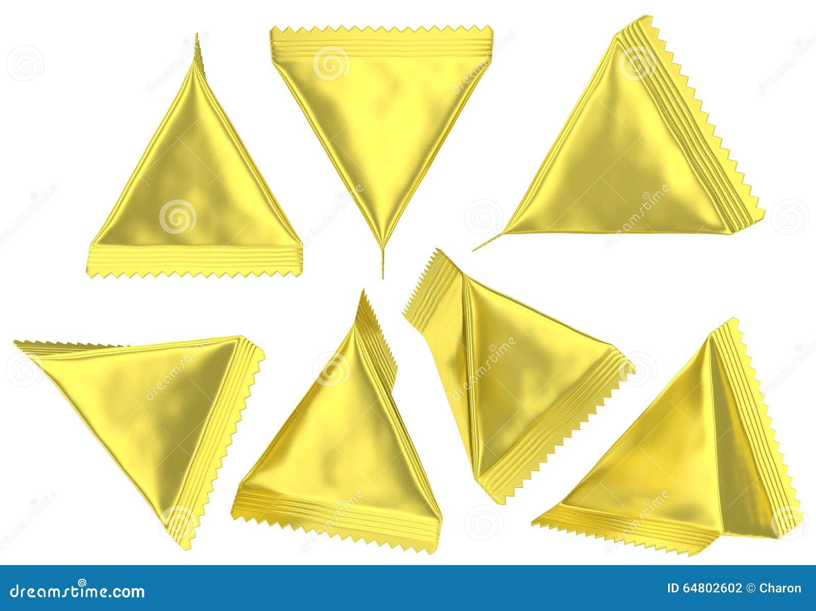 Golden foil tetrahedral plastic bag