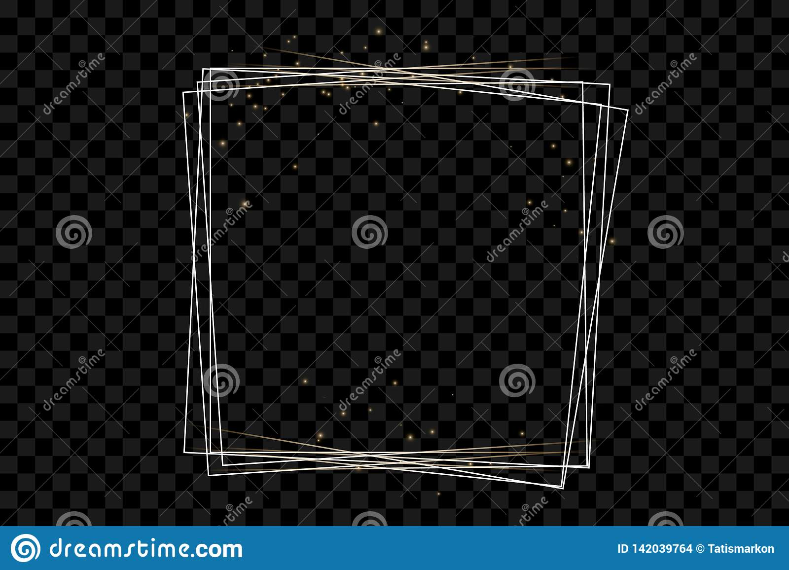 Golden frame with lights effects,Shining luxury banner vector illustration.