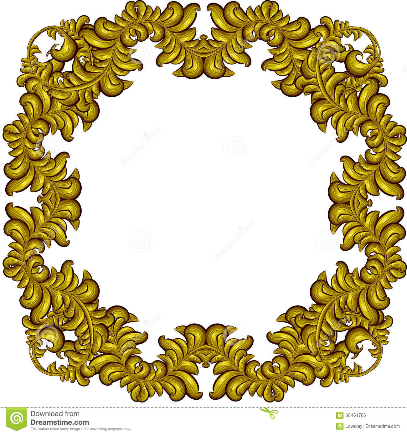 Golden frame with luxury floral elements baroque style for Baroque architecture elements