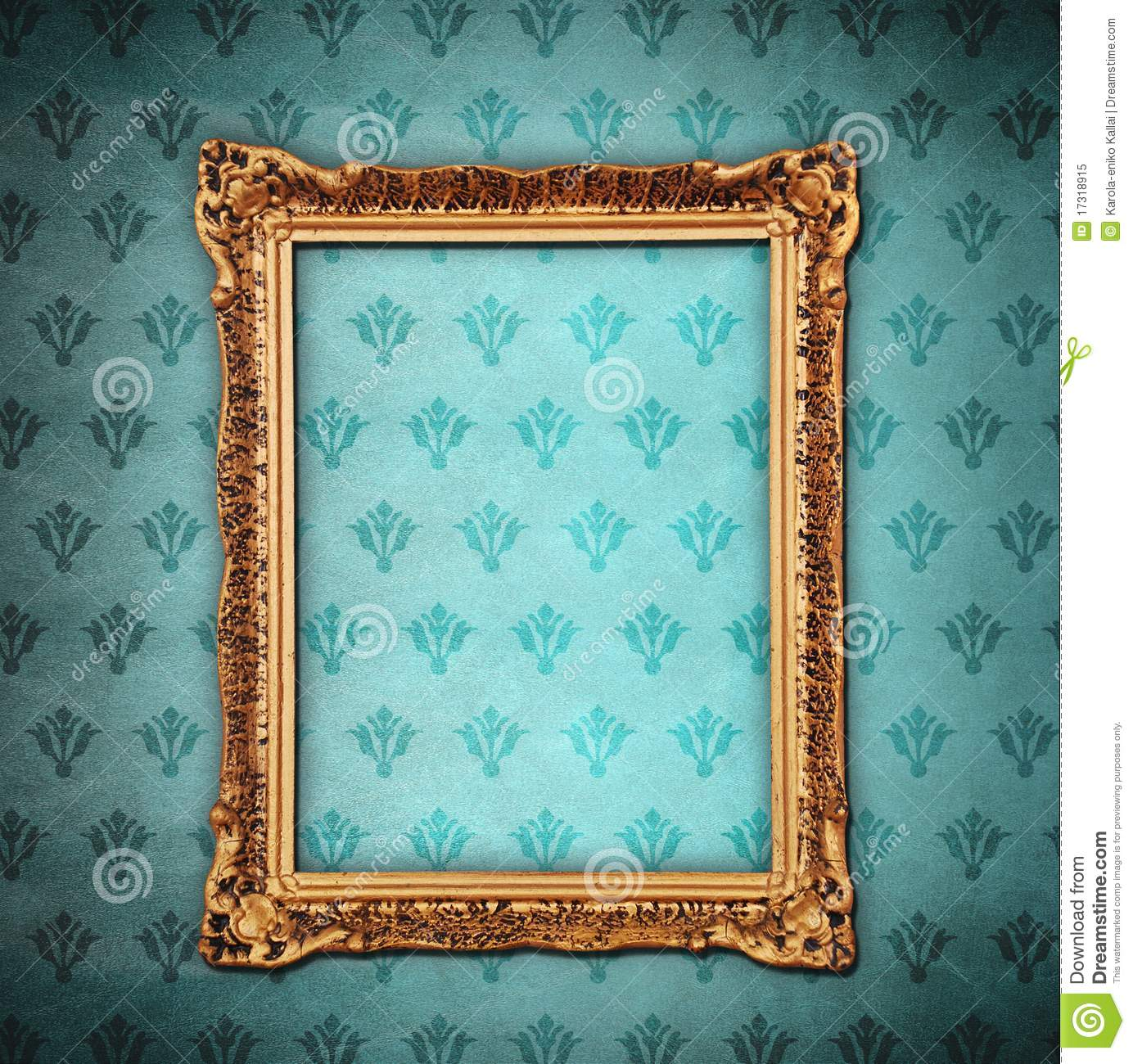 Golden Frame Over Grunge Wallpaper Royalty Free Stock Photo - Image ...