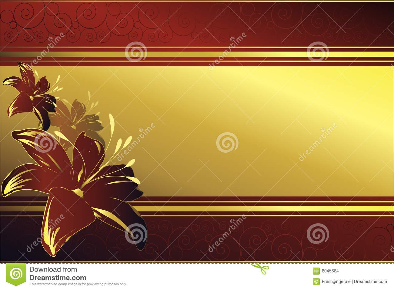 Golden frame with red blossoms