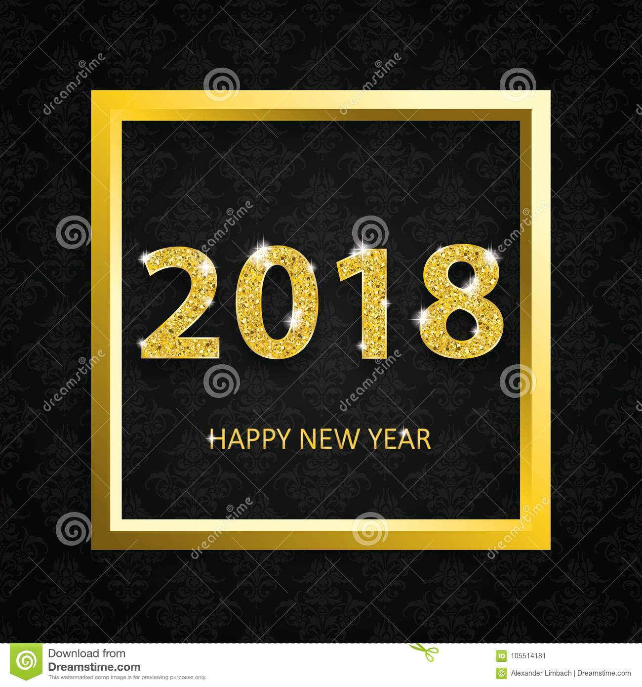 download 2018 happy new year golden frame black ornaments wallpaper stock vector illustration of dark