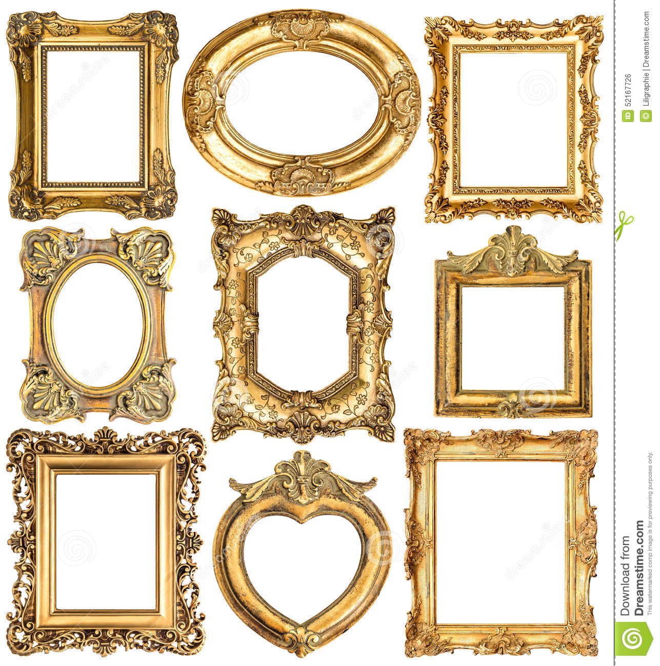 Golden Frames Baroque Style Antique Objects Stock Photo Image Of