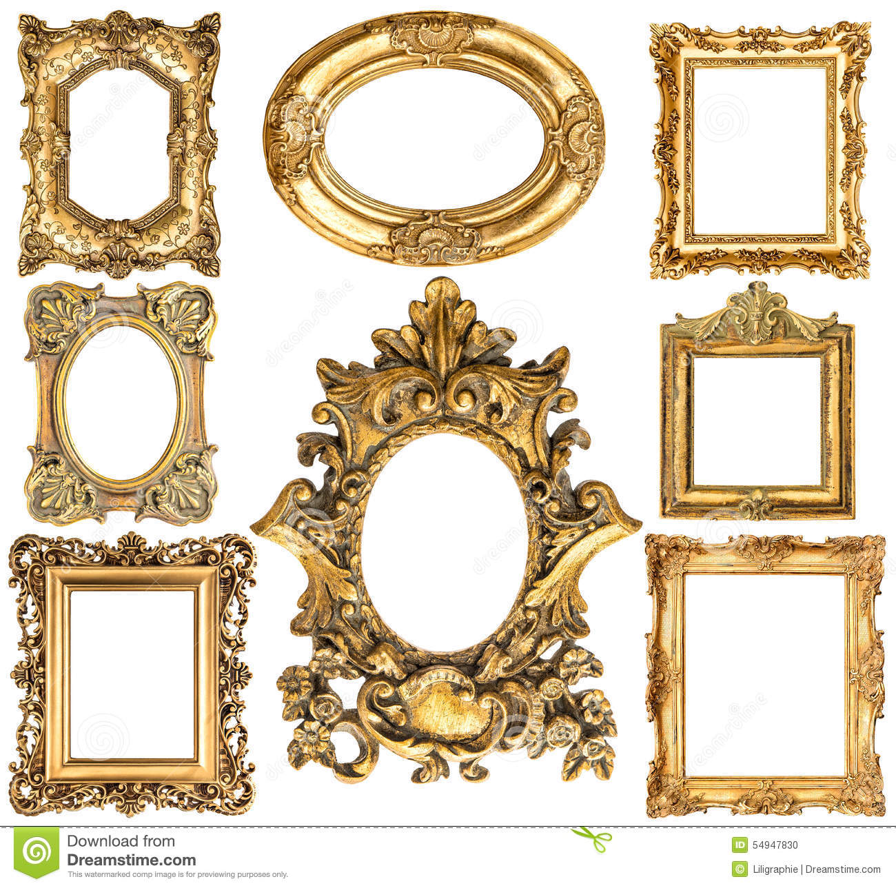 golden frames baroque style antique objects vintage collection stock photo image 54947830. Black Bedroom Furniture Sets. Home Design Ideas