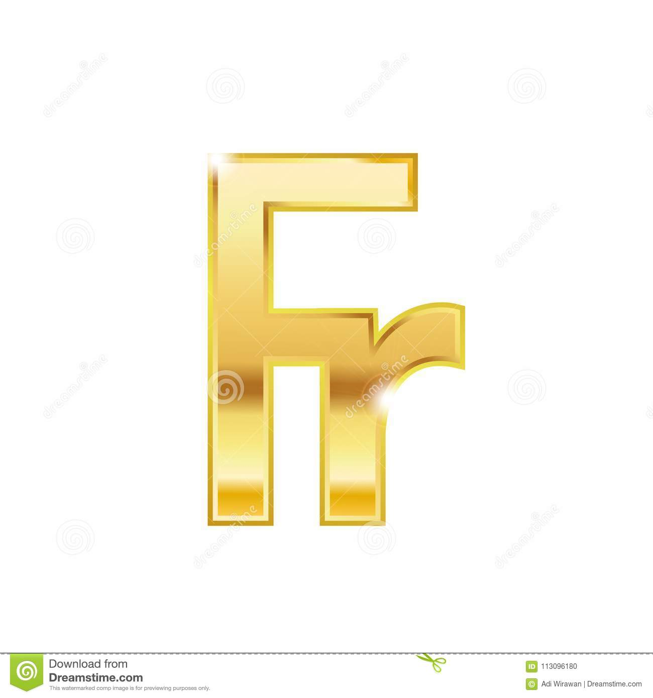 Golden Franc Symbol Isolated Web Vector Icon Stock Vector