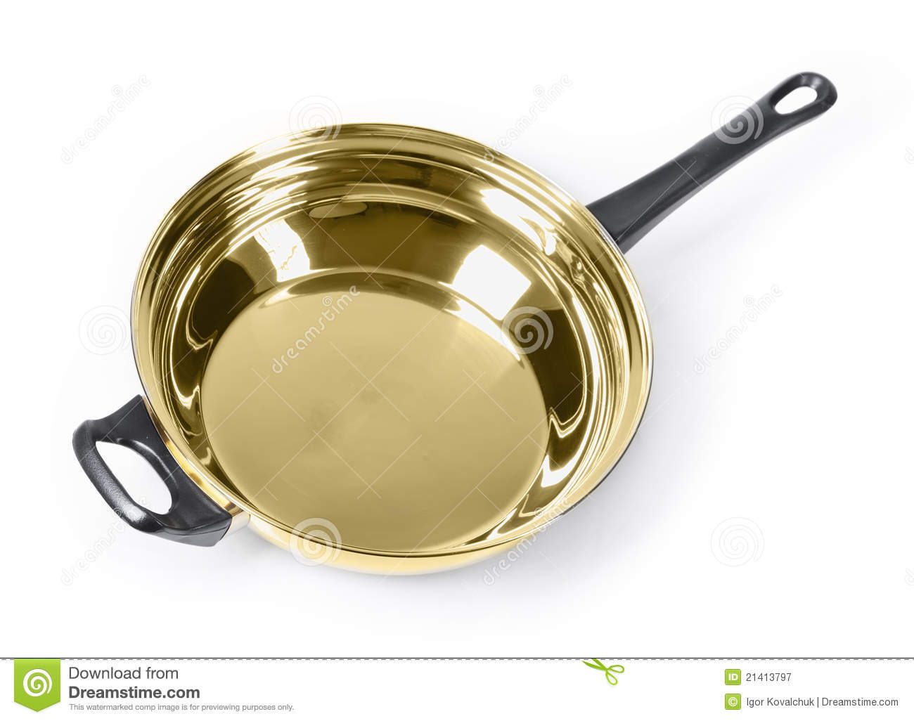 Golden Frying Pan Royalty Free Stock Photography Image