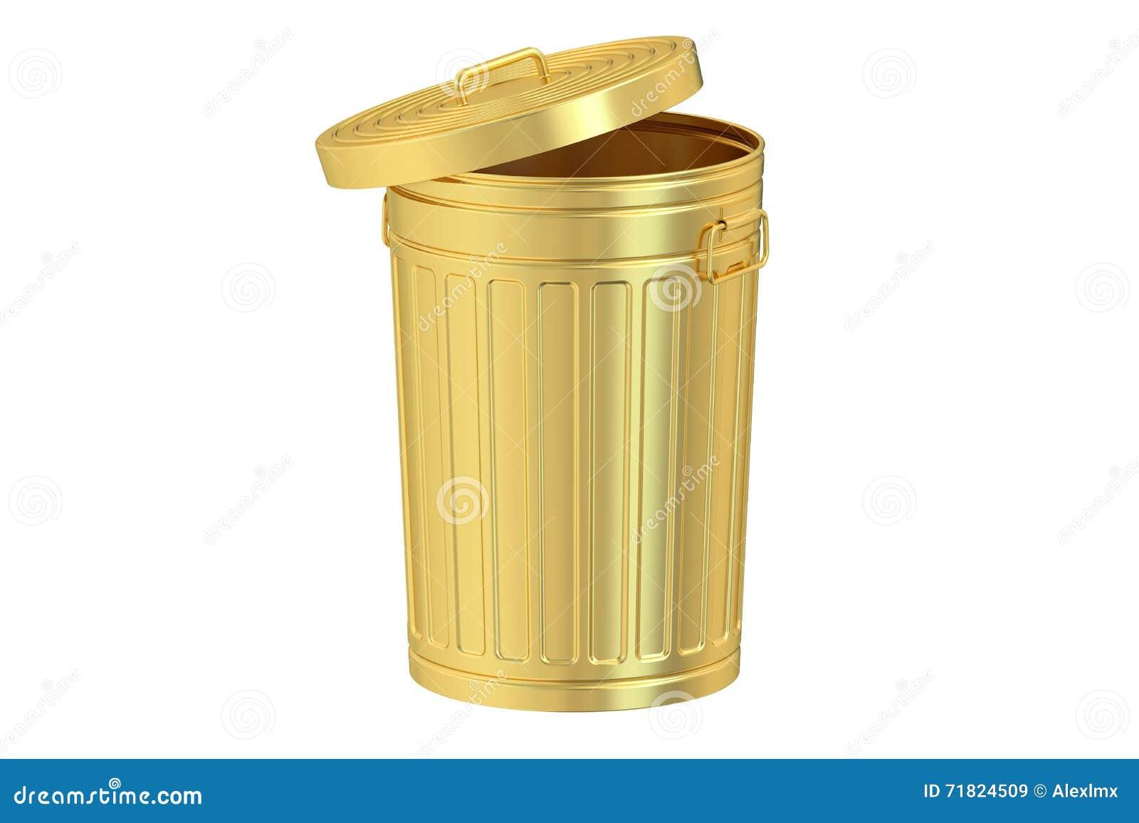 Golden Garbage Can 3d Rendering Stock Illustration