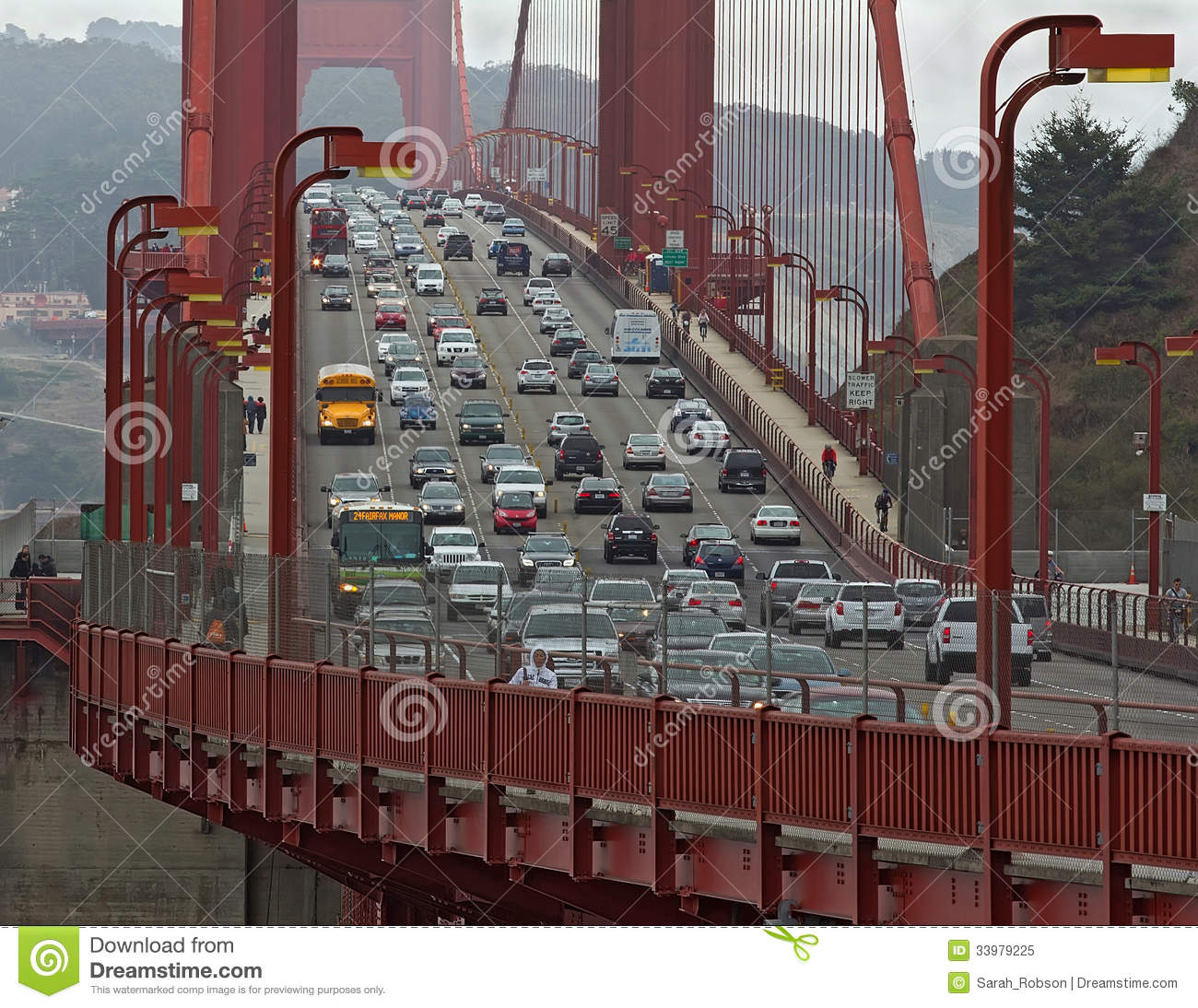 Golden Gate Bridge With Cars Buses And People Close Up