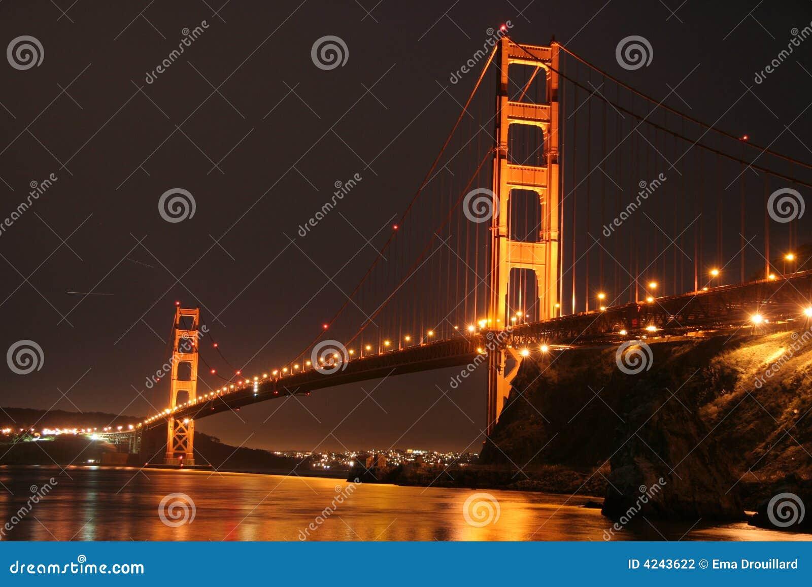 Golden Gate Bridge Golden Night Light