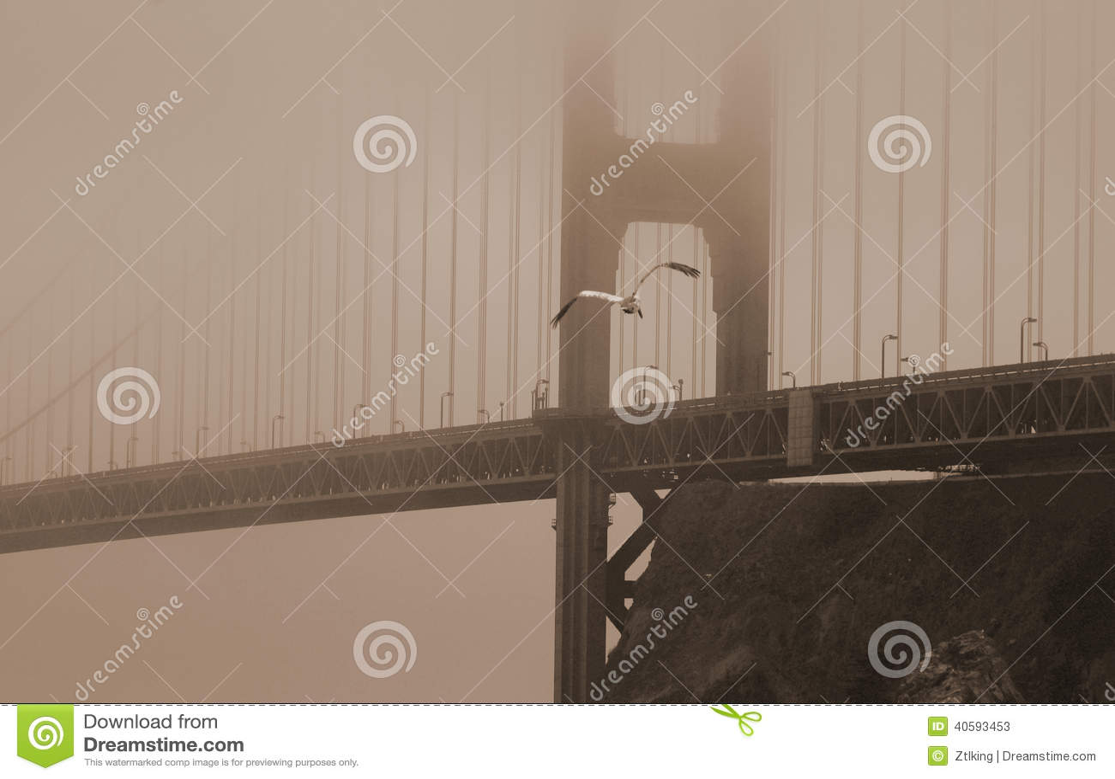 Golden gate bridge in heavy fog