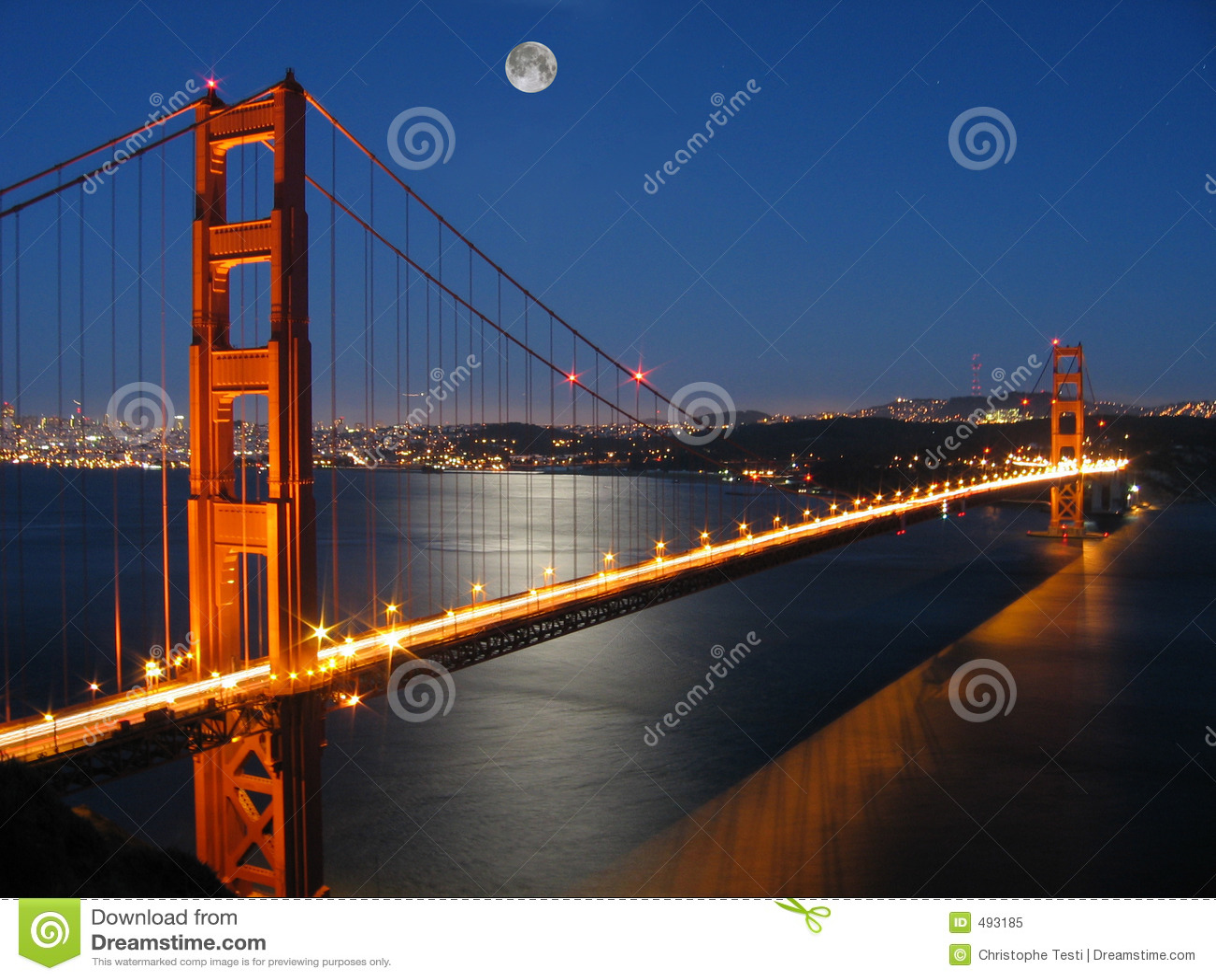 Golden Gate Bridge with Moon light