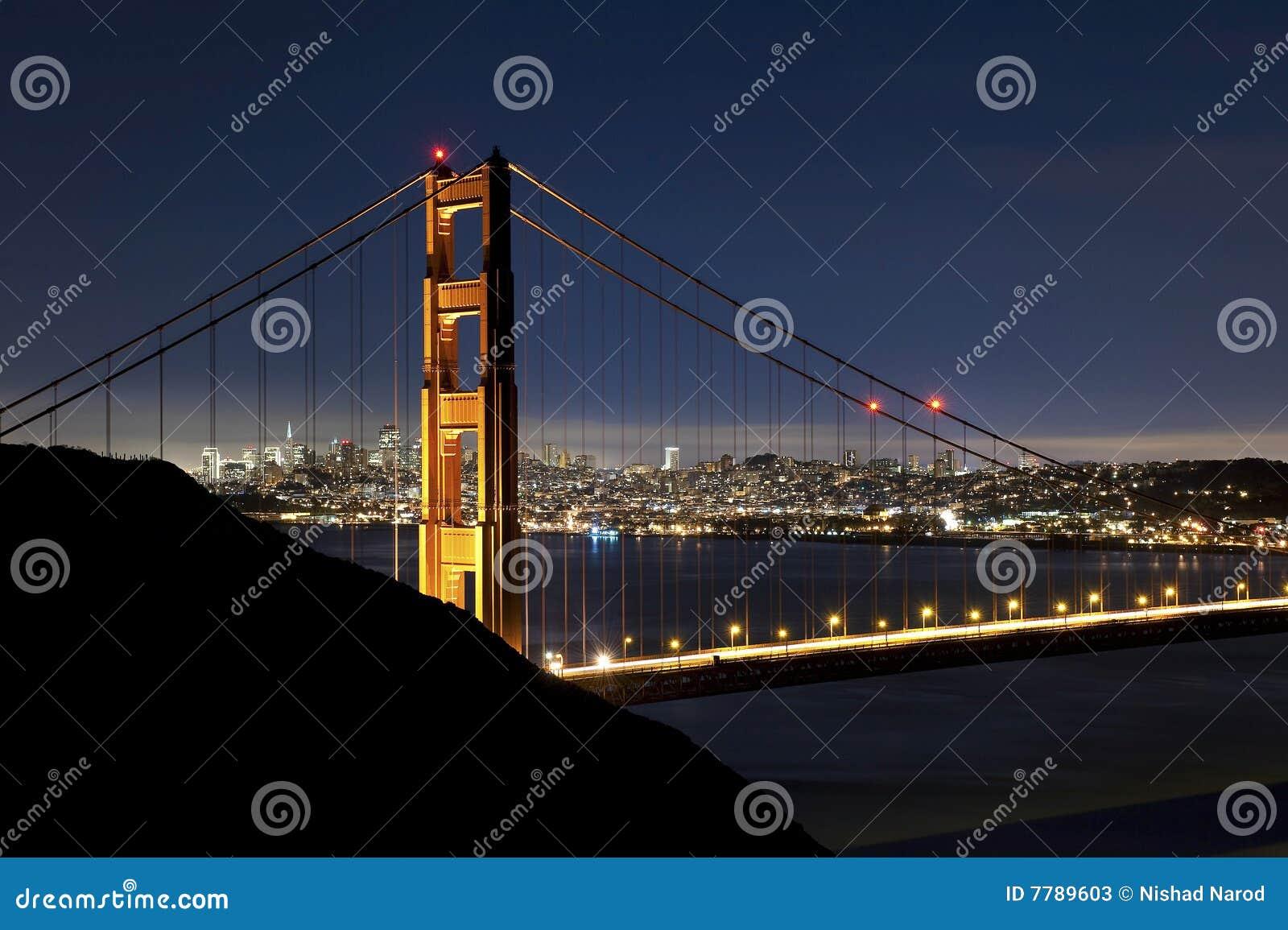 Golden gate bridge of san francisco at night stock image for Golden night