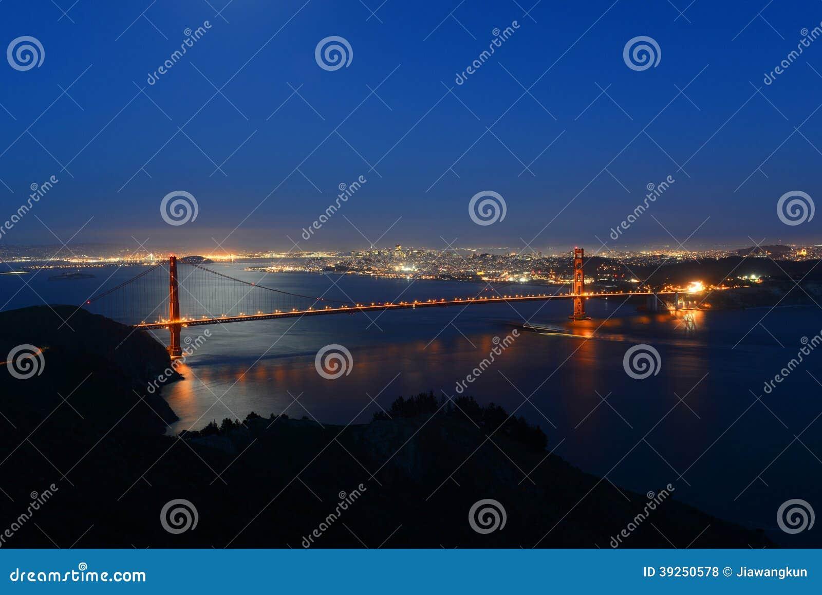 Golden gate bridge at night san francisco usa stock for Golden night