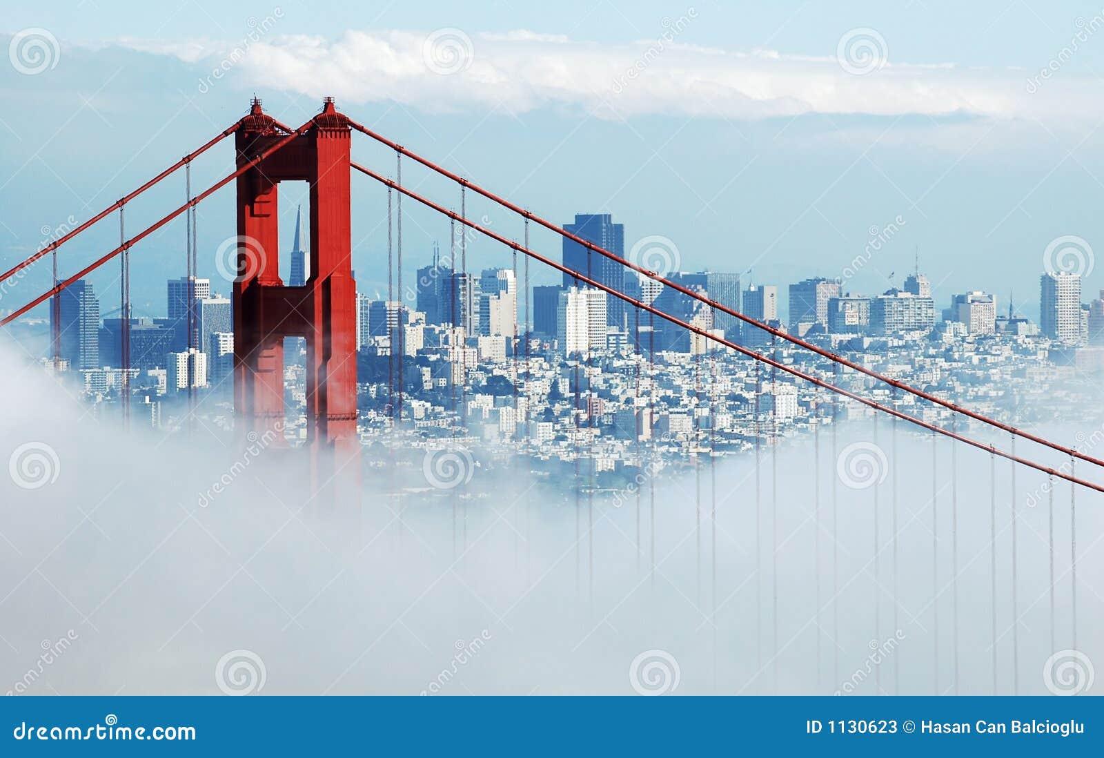 Golden Gate Bridge & San Francisco under fog
